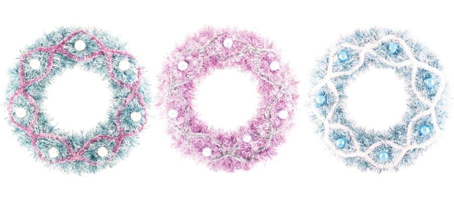 Xmas Tinsel Wreaths