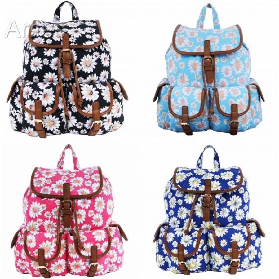 Daisy Flower Double Pocket Backpack/Rucksack