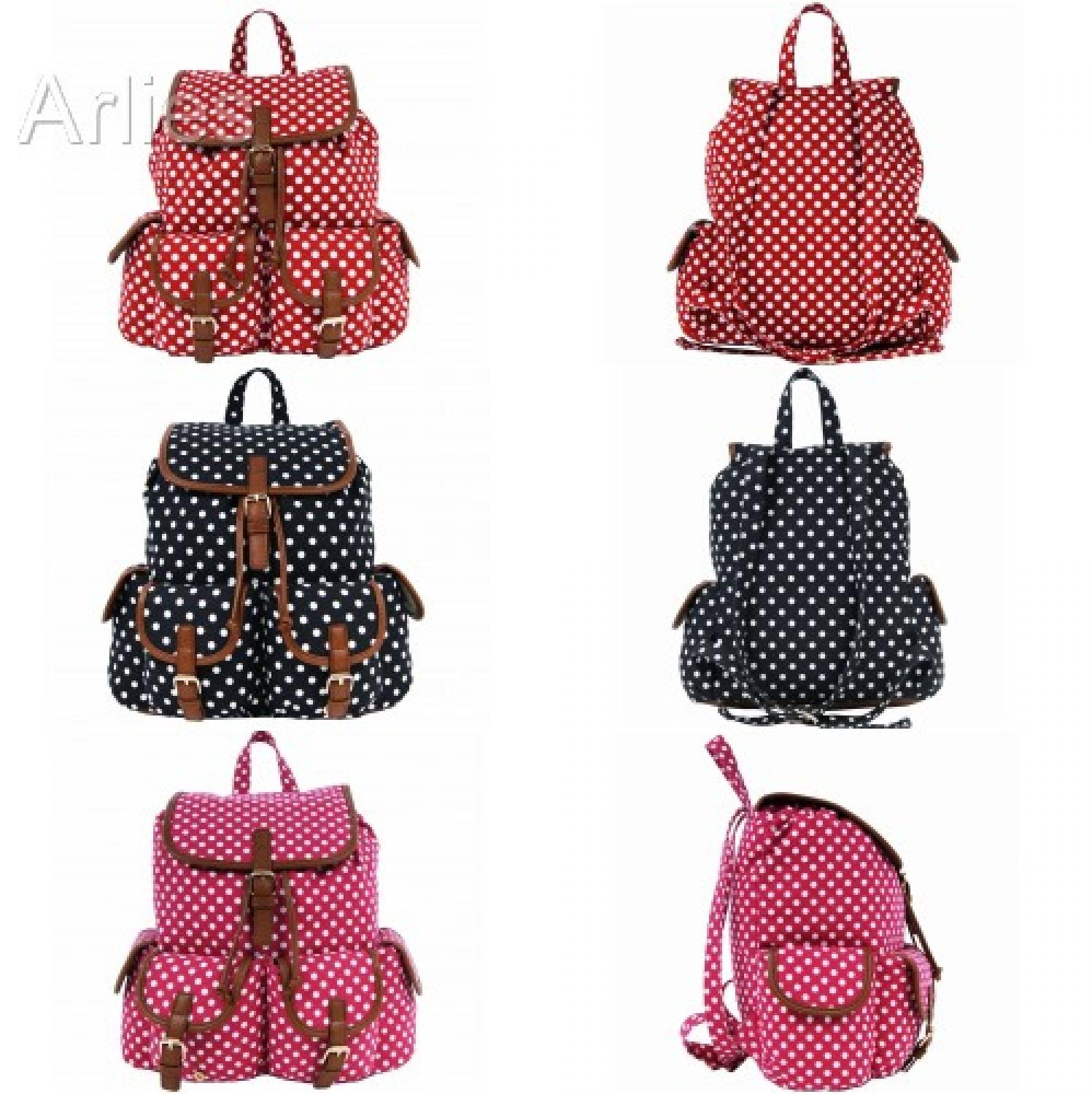 Polka Dot Double Pocket Backpack/Rucksack