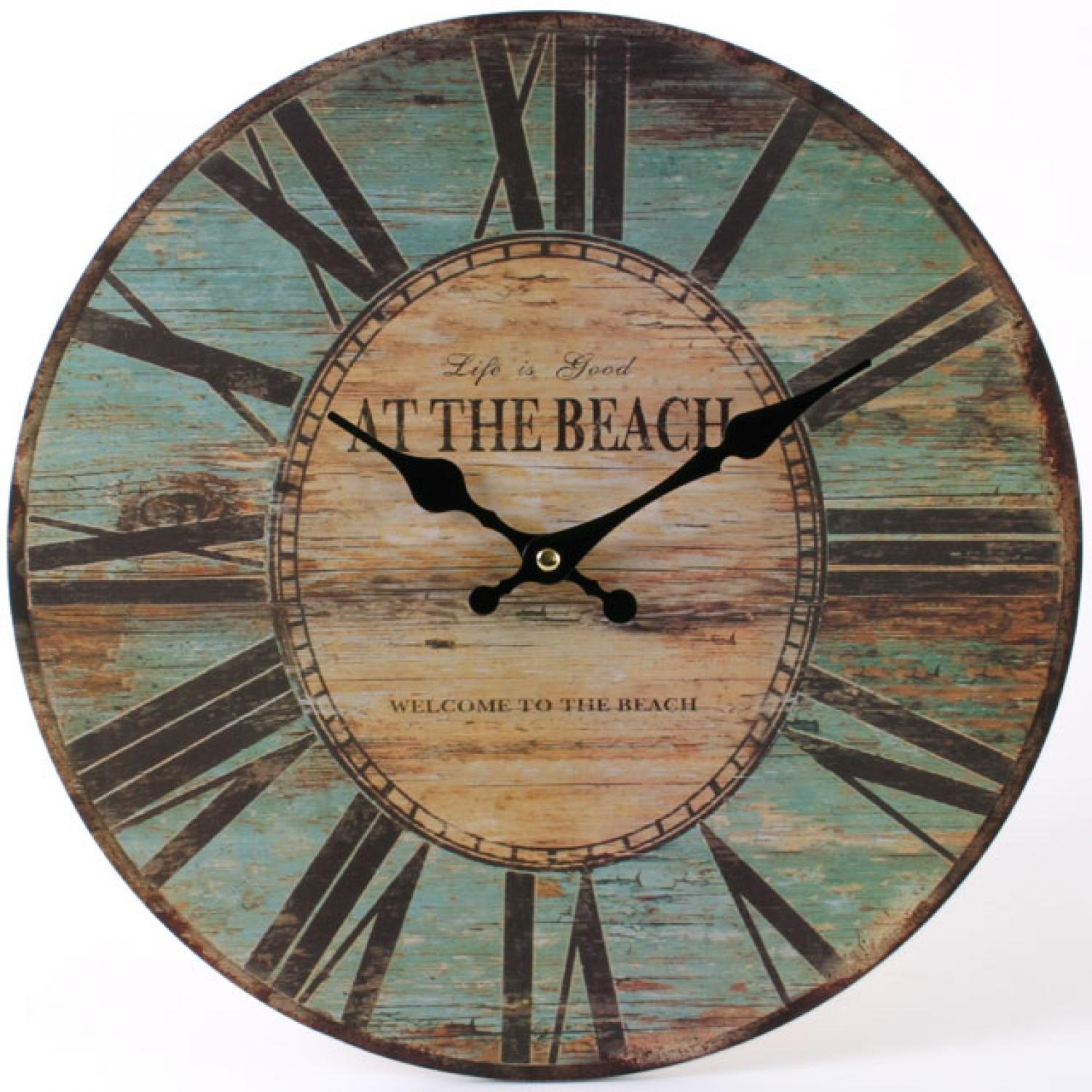 At the Beach Vintage Rustic Clock