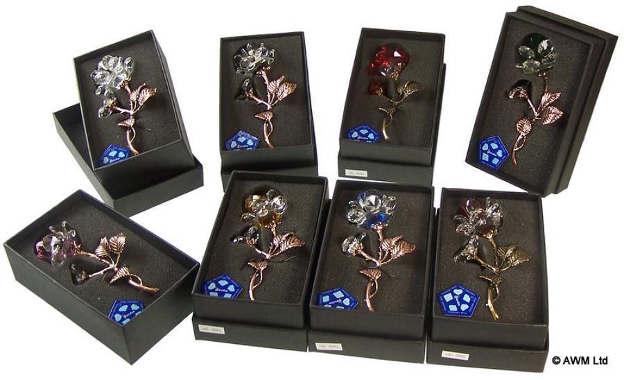 Bronze Stemmed Crystal Roses