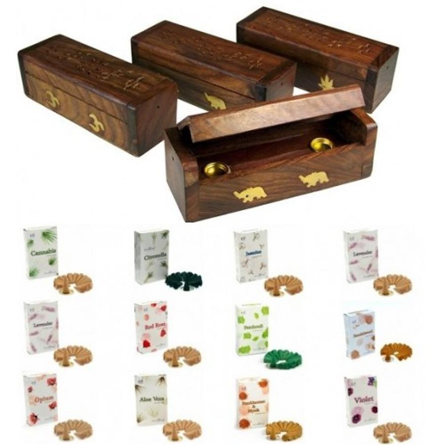 Cannabis Leaf Wooden Incense Box