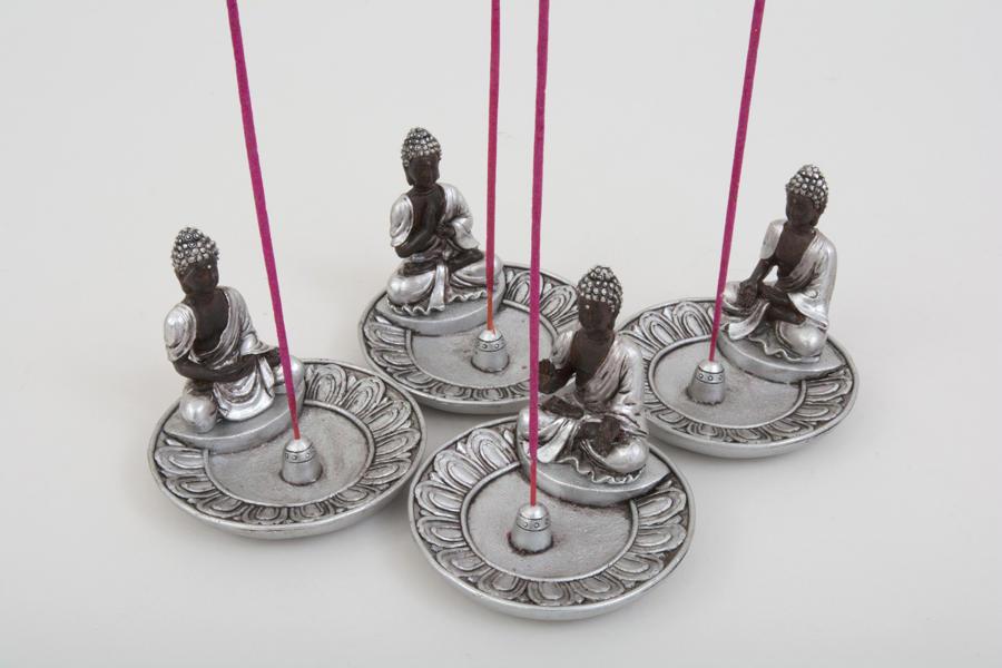 Asian Silver Thai Buddha Incense Holder