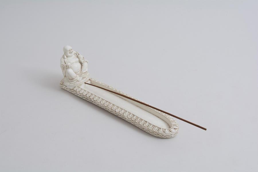 White Happy Buddha Incense Holder