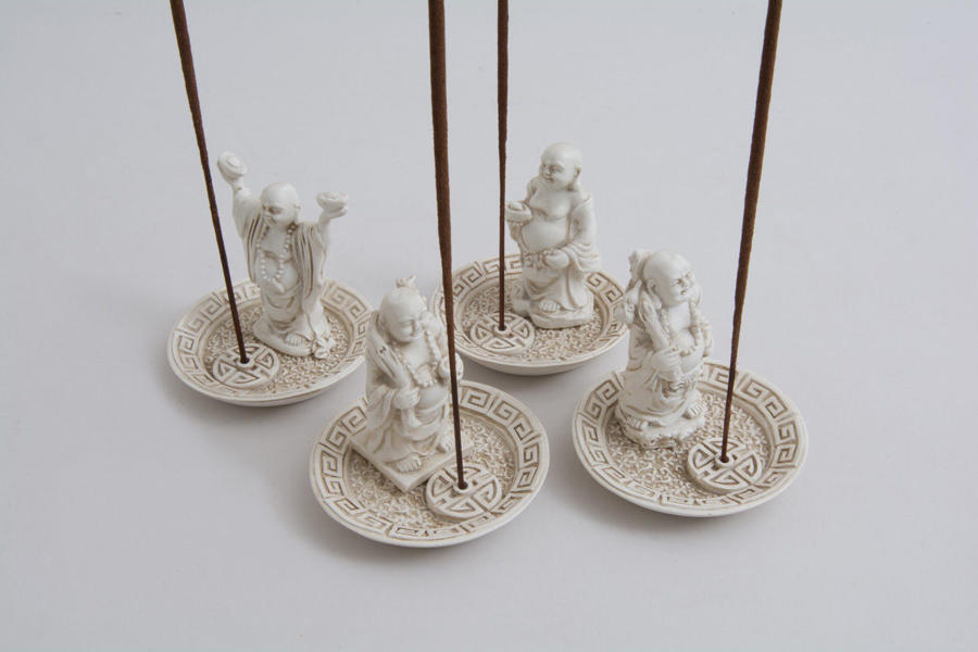 Set of 4 Circular White Happy Buddah Incense