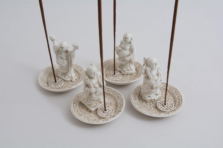Set of 4 Circular White Happy Buddah Incense