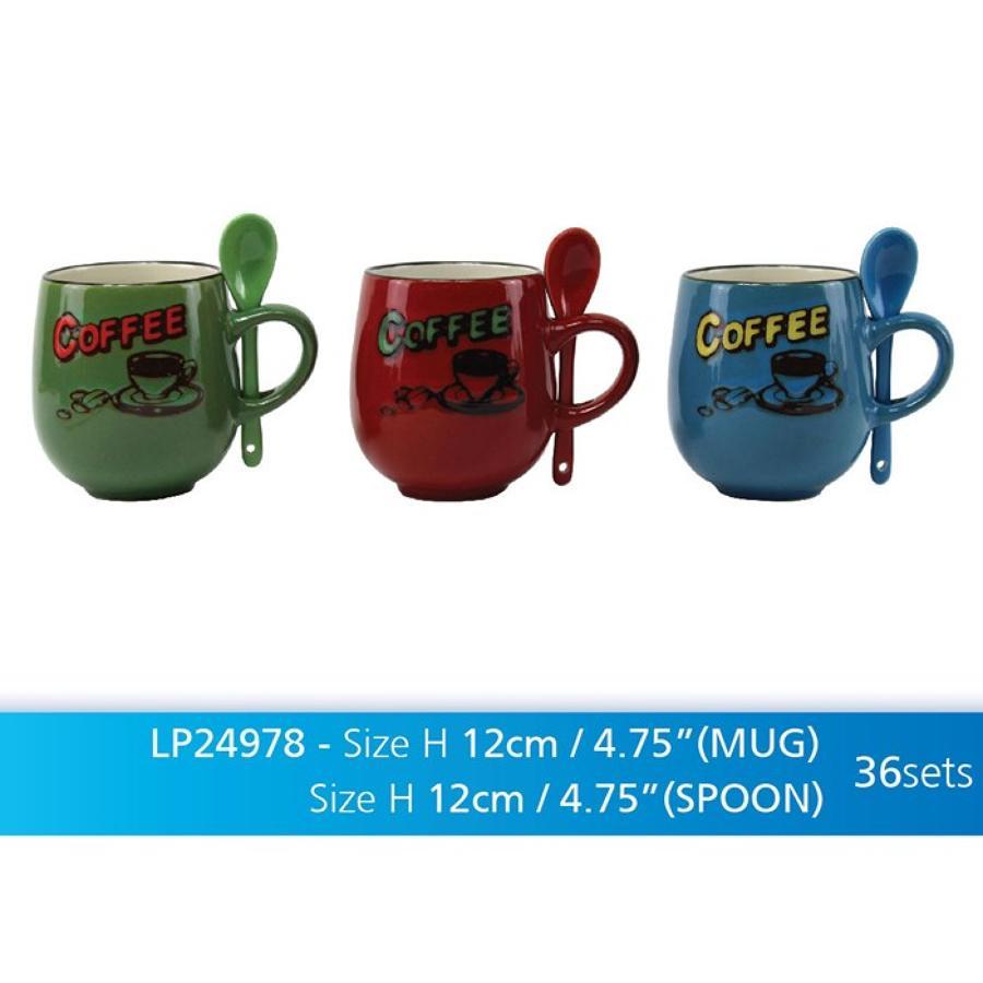 Retro Stoneware Coffee Mug with Spoon
