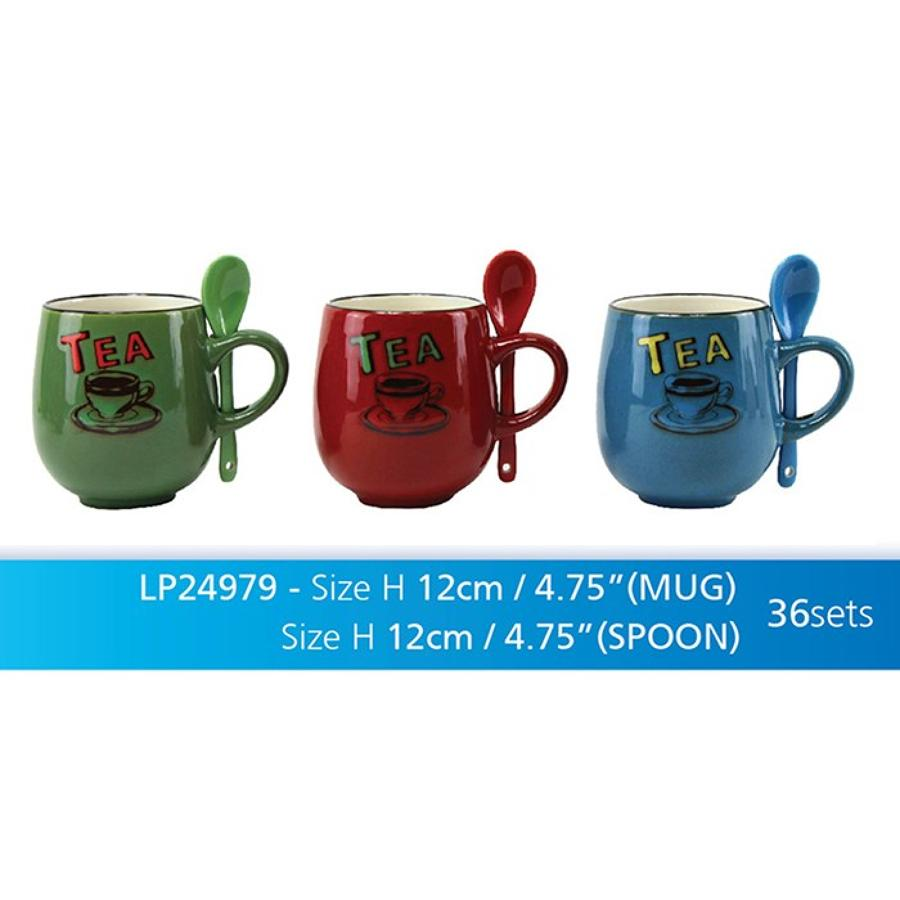 Retro Stoneware Tea Mug with Spoon