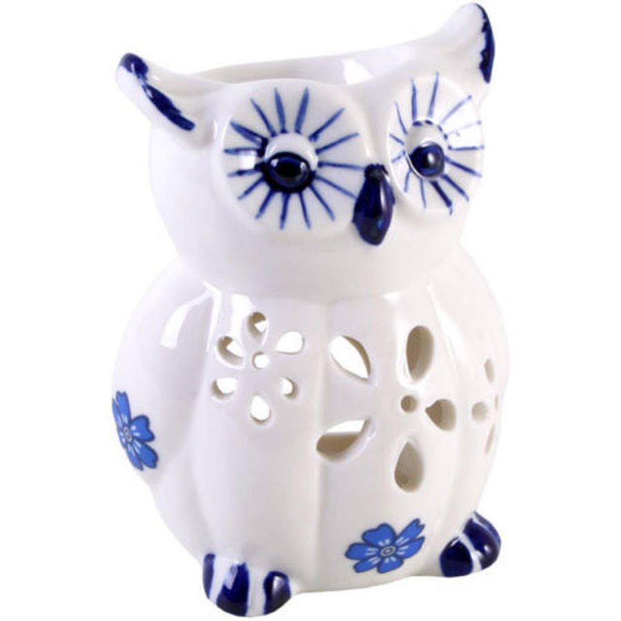 BLUE AND WHITE CERAMIC OWL