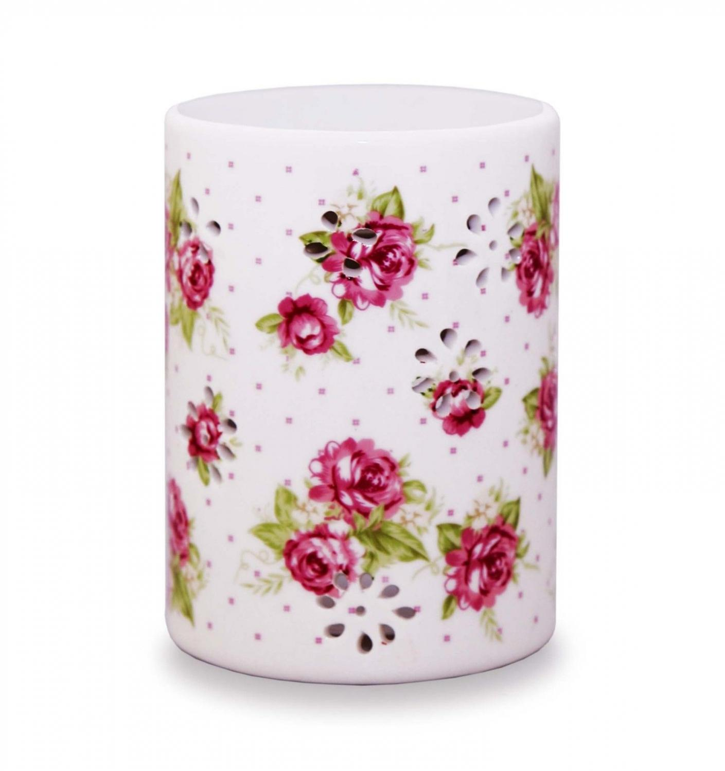 White Oil Burner with Roses