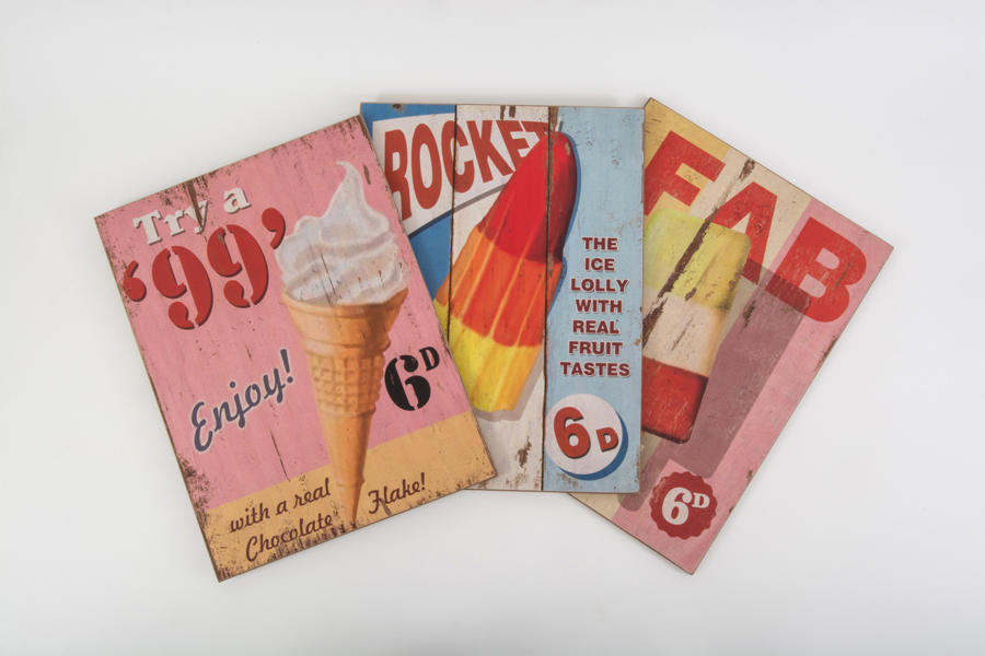 Vintage Wooden Ice Cream Signs