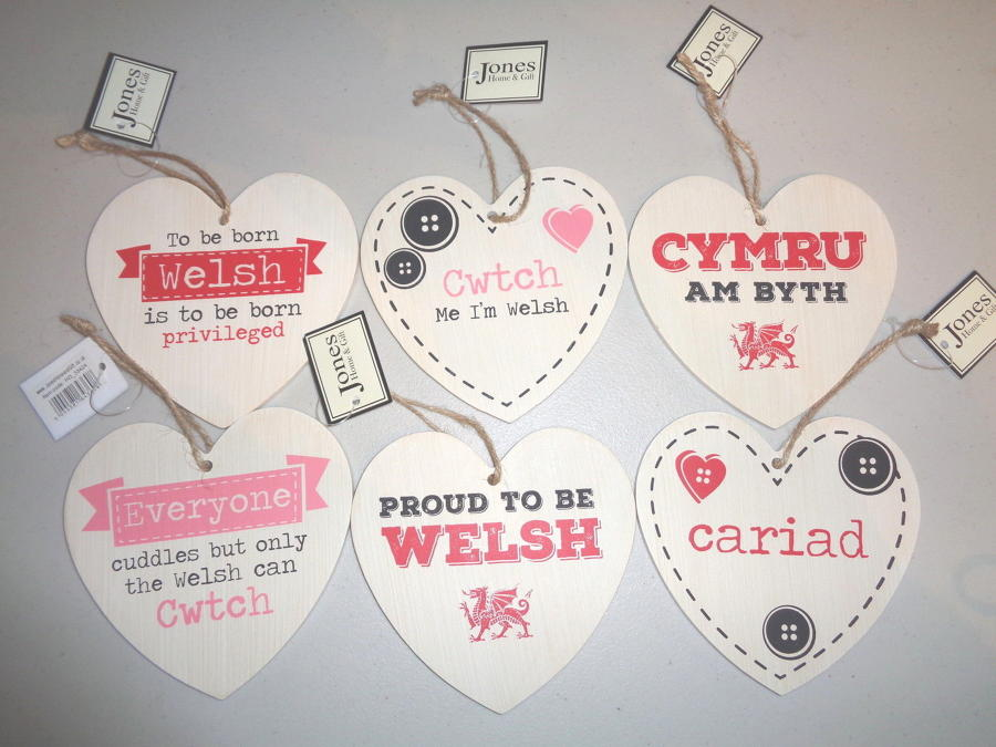Welsh Heart Wooden Hanging Plaques