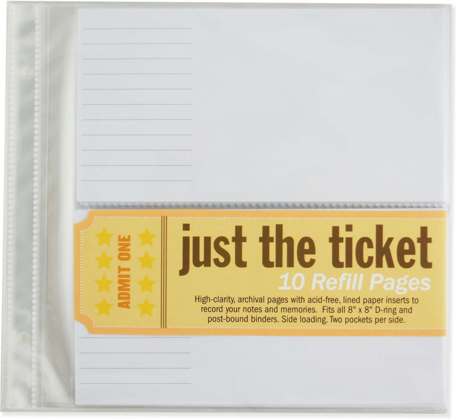 Just the Ticket Refill Sheets