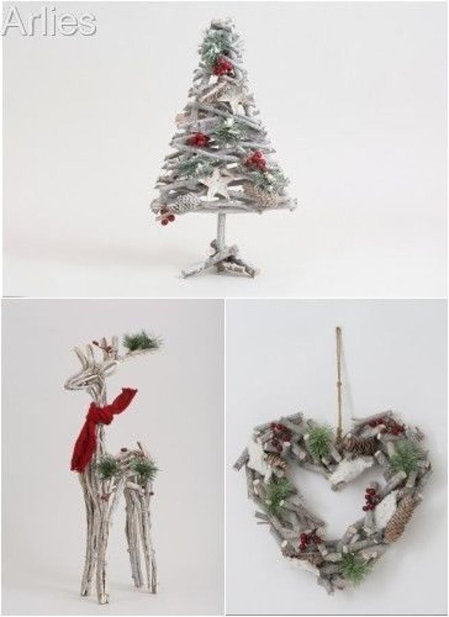 Birch-wood Twig Xmas Ornaments