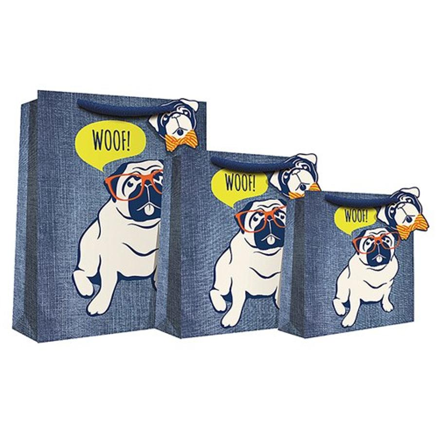 Blue Denim Pug Gift Bag
