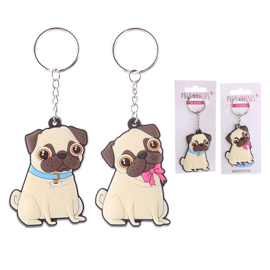 Pugs and Kisses PVC Keyring