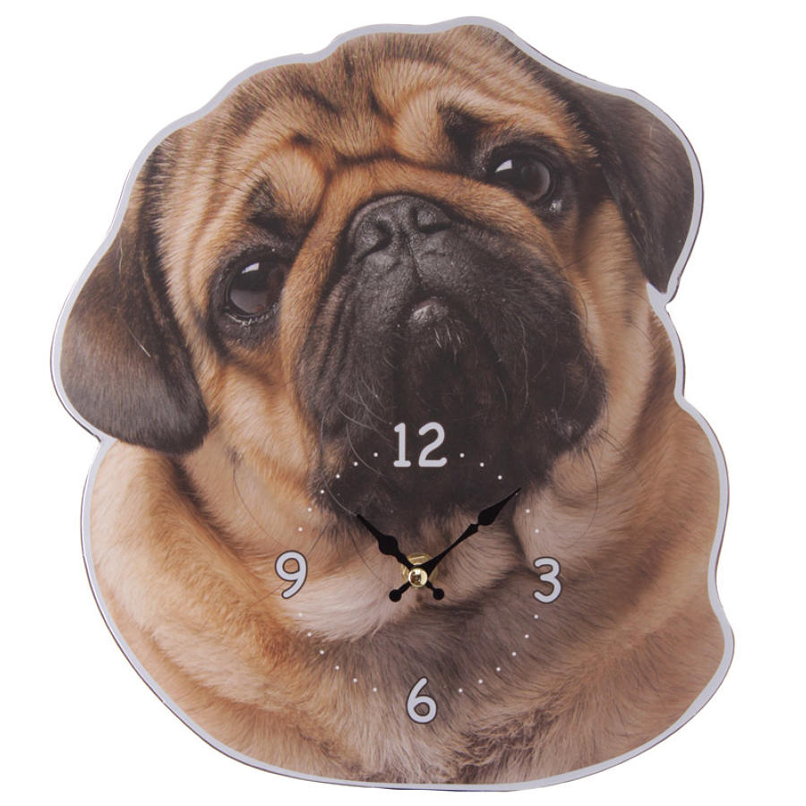Cute Pug Shaped Picture Clock