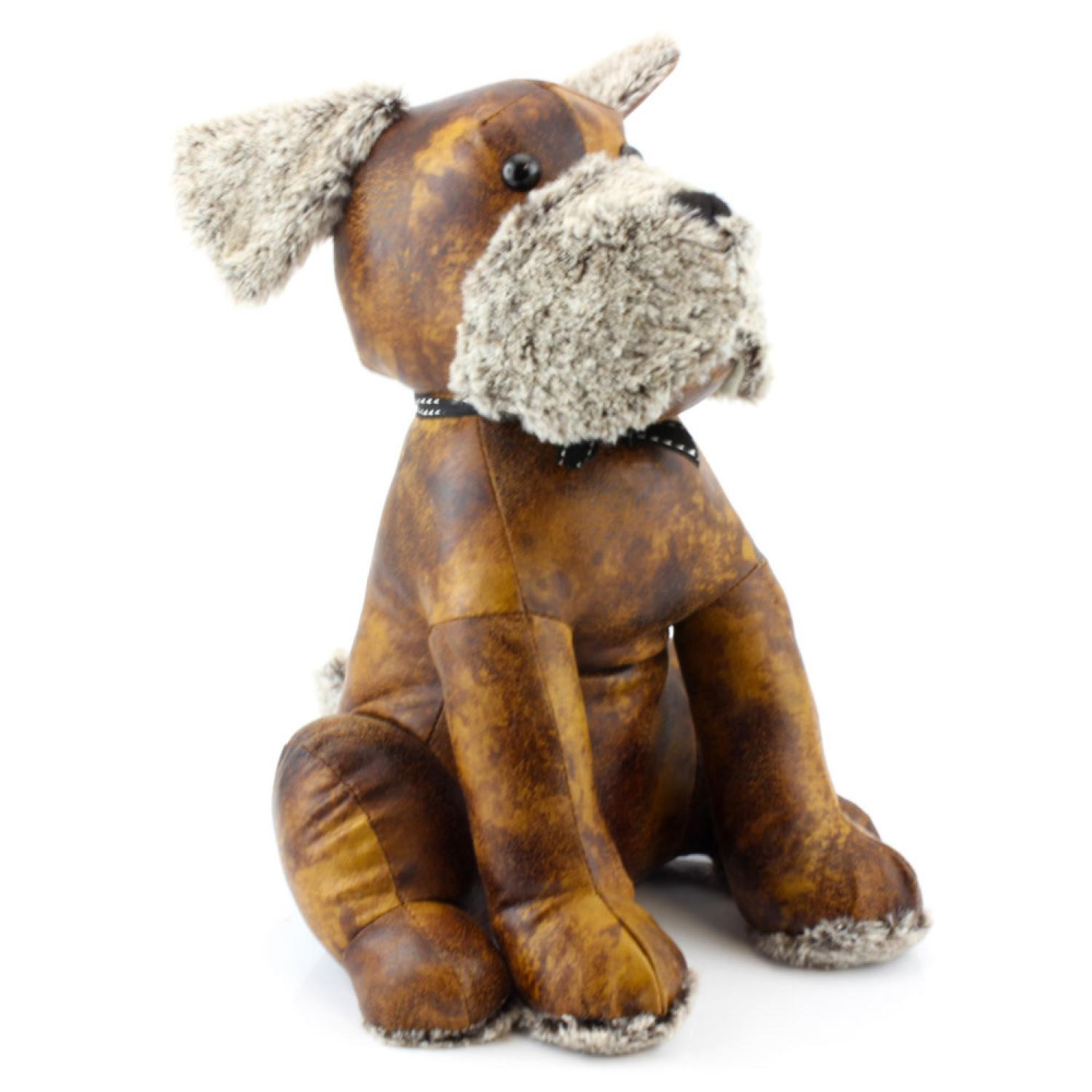 Faux Brown Leather Dog Doorstop