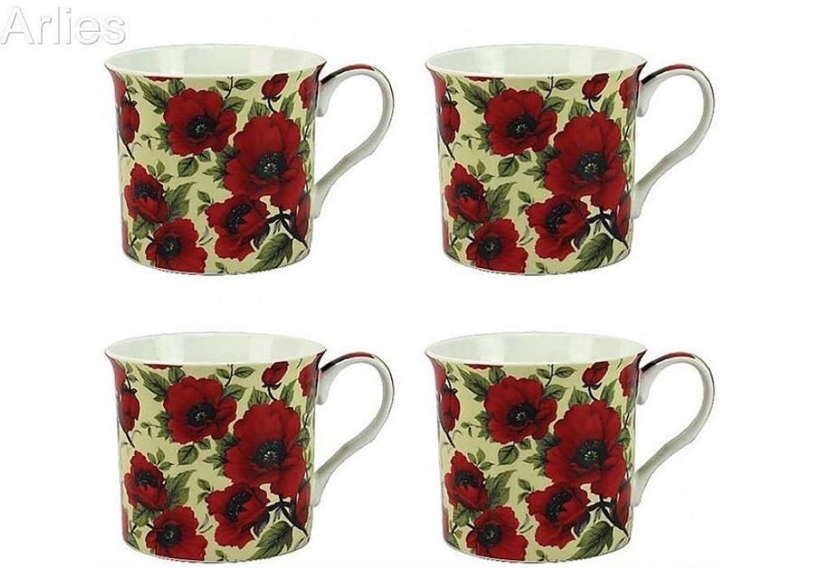 Set of 4 Poppy Mugs